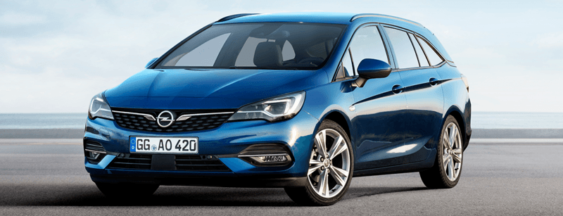 Opel Astra Sports Tourer kék szemből